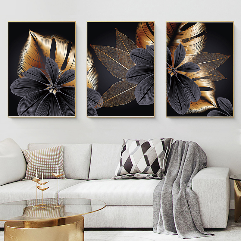 Abstract Black Golden Plant Leaf Canvas Poster Print Modern Home Nordic Decor Wall Art Painting Living Room Decoration Picture