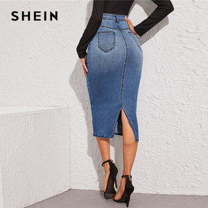Image 3 - SHEIN Blue Split Back Bodycon Denim Skirts Womens Spring Autumn High Waist Slim Fitted Casual Long Pencil Skirt