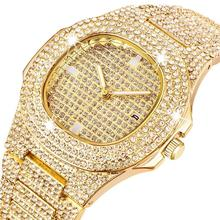Luxury Men Watch Full Crystal Diamond Dial Male Wristwatch Rose Gold Sliver Stai