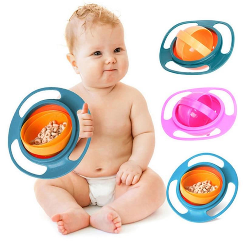 Heißer Verkauf Design Universal Kreisel Schüssel Gerichte Anti Spill Schüssel Glatte 360 Grad Rotation Kreiselsicherheitssensor Schüssel Für Baby Kinder