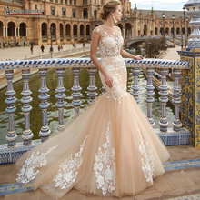 Champagne color mermaid wedding dress sexy transparent top abiye