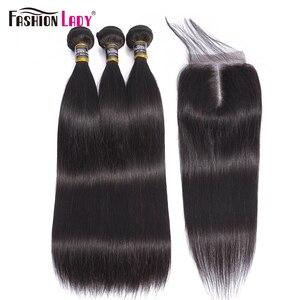 Image 2 - Thời Trang Nữ 3 Ốp Lưng Brasil Thẳng Tóc Dệt Lưng Với 5X5 Inch Ren Đóng Cửa Phần Giữa Con Người 100% tóc Không Remy