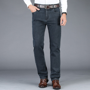 Image 3 - 2020 yeni sonbahar kış erkek streç kot iş rahat klasik tarzı pantolon siyah gri düz kot pantolon erkek marka