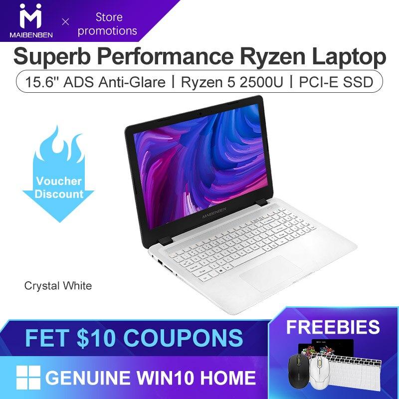 MAIBENBEN Laptop DaMai E527 15.6 Inch ADS Screen / Ryzen 5 2500U / DDR4 RAM / PCI-E SSD + HDD / Windows 10 / Silver White