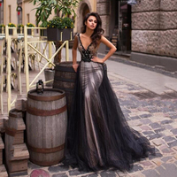 Sequins Mermaid Prom Dress For Black Girls V Neck Sexy lace Appliqued Long Prom Dresses Evening Wear Backless Pageant Party Gown