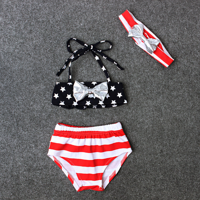 Children Europe And America Summer Style Girls Star Bow-Bandage Cloth Fen Ti Zhuang Three-piece Set Swimsuit INS