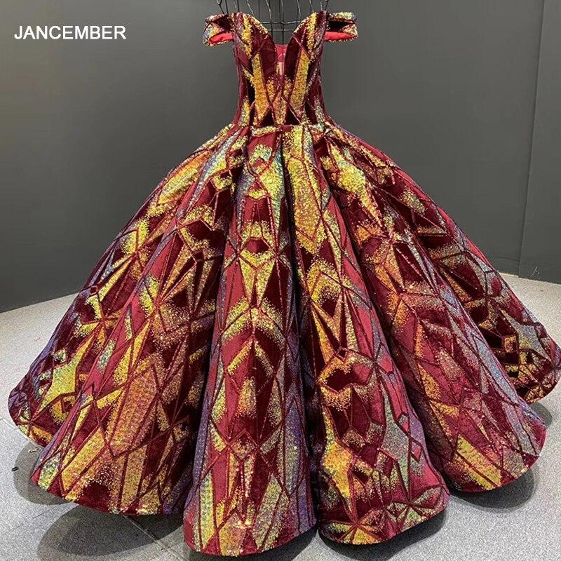 J66661 Jancember Graduation Dresses In Homecoming Dresses V Neck Off Shoulder Quinceanera Dresses Ball Gown Vestidos De 15 Años