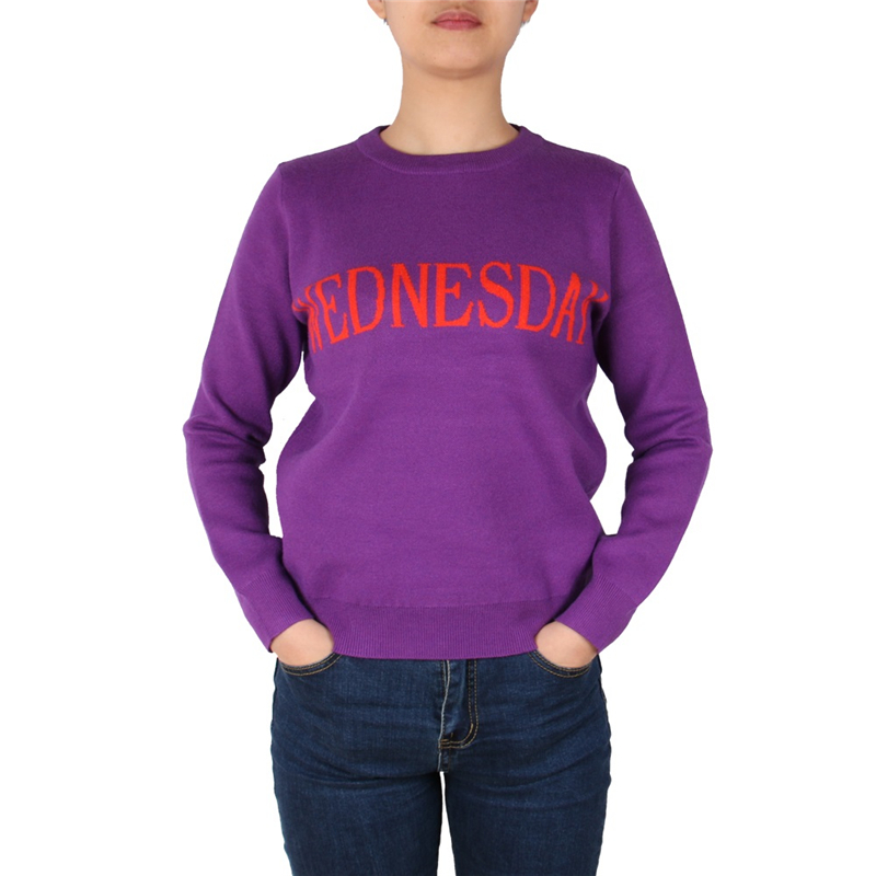 Fashion Week Women Sweater Chic Letter Knitted Jumper Runway Pullovers Monday Tuesday Wednesday Thursday Friday Saturday Sunday