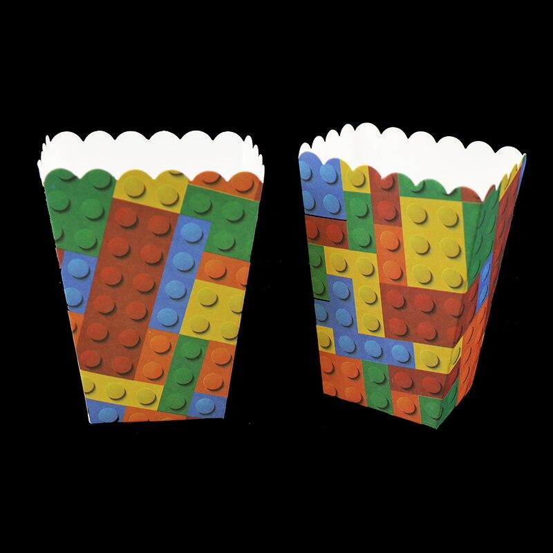 6 pçs/lote Lego tema decorações da festa de aniversário do chuveiro do bebê caixas de pipoca Blocos De Lego Blocos De Lego caso pipoca