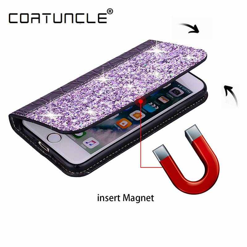 Huawei P Smart Plus 2019 Case magnetyczne skórzane cienkie etui do Huawei P Smart Z 2019 PSmart 2018 etui Z podstawką Glitters Phone Cover