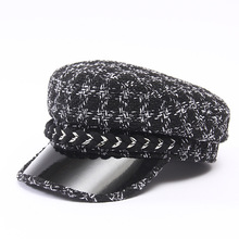 Women Berets Military Hat Black White Plaid Brand Designer Navy Cap Autumn Winter British Retro Flat Top All-match Caps