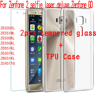 2psc Tempered Glass Film & 1psc Thin Cover Case For Asus Zenfone 2 ZE551ML ZE601KL ZE550KL ZE500KL ZD551KL ZE500ML ZB551KL ZC451 image