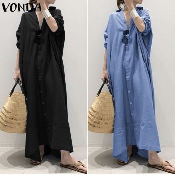 Plus Size Shirt Dress Women's Autumn Sundress 2019 VONDA Vintage Casual Long Maxi Dress Tunic Vestidos V Neck Solid Robe Femme 2