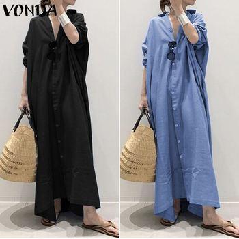 Plus Size Shirt Dress Women's Autumn Sundress 2019 VONDA Vintage Casual Long Maxi Dress Tunic Vestidos V Neck Solid Robe Femme 2