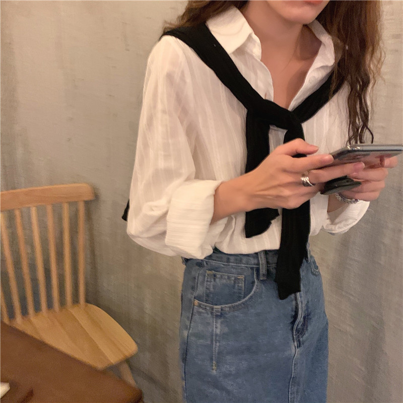 Hacc0d2953b544b9da4b1d06337c349bbW - Spring / Autumn Turn-Down Collar Long Sleeves White Striped Blouse