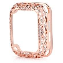 Geschnitzte Kupfer Frauen Luxus Bumper für Apple Uhr Fall 44/40mm 42/38mm Diamant Bling Metall abdeckung für iWatch Serie SE/6/5/4/3/2
