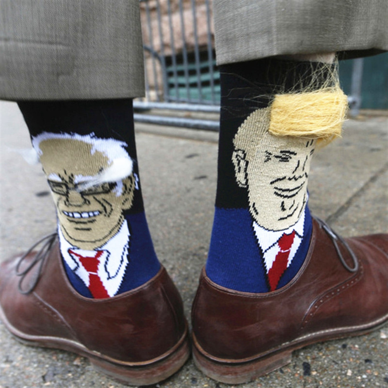 President Donald Trump Socks Unisex Funny Print Adult Casual Crew Socks 3D Fake Hair Crew Socks Hot Sale Hip Hop Skateboard Sock