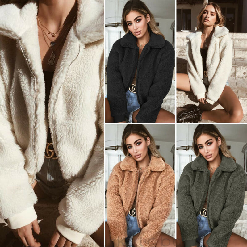 New Winter Casual Women Ladies Warm Solid Turn-down Collar Teddy Bear Fleece Zip Up Jacket Oversize Outdoor Street Short Coats