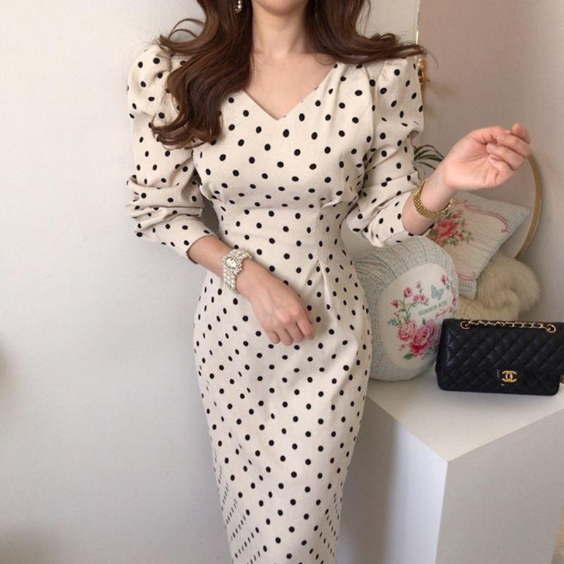 French style Spring autumn Women Casual Polka Dot Print A-Line Party Corduroy Dresses Eleagnt lace-up Slim Dress Fashion 2