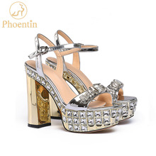 Phoentin silver gold high platform sandals ladies crystal party super high heels 11cm buckle strap summer shoes peep toe FT768 asumer gold light purple fashion summer ladies prom shoes peep toe buckle elegant super high women high heels sandals size 44