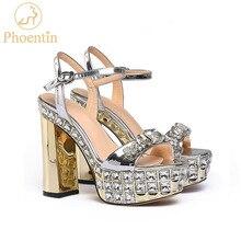 Phoentin silver gold wysoka podeszwa sandały damskie crystal party super wysokie szpilki 11cm pasek z klamrą letnie buty peep toe FT768