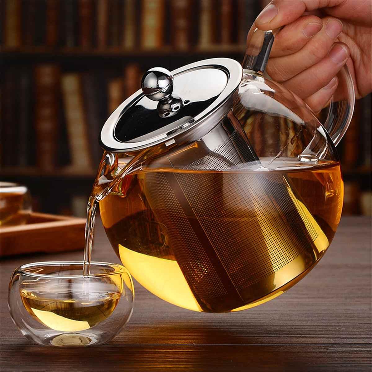 600/950/1300 مللي زجاج إبريق الشاي من الفولاذ المقاوم للصدأ مع Infuser تصفية غطاء مقاومة للحرارة براد شاي غلاية المنزل مكتب teبينة مجموعة