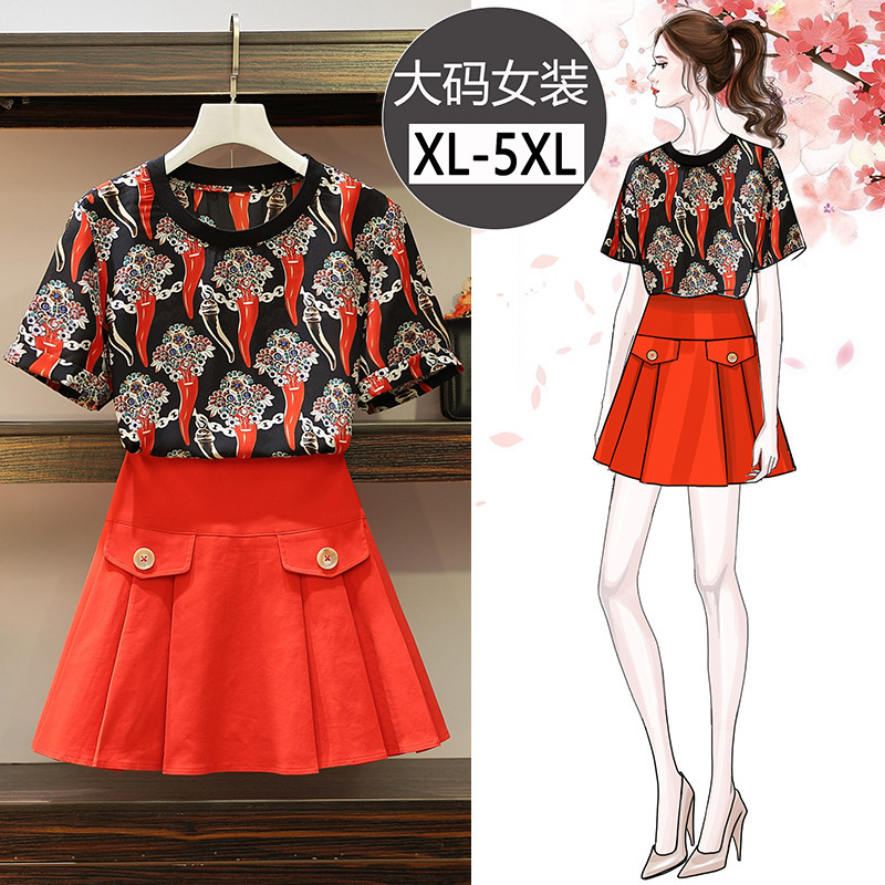 Summer New Style 2019 Large GIRL'S Large Size Dress Fashion Western Style Pepper Printed T-shirt Pleated Short Skirt Two-Piece S