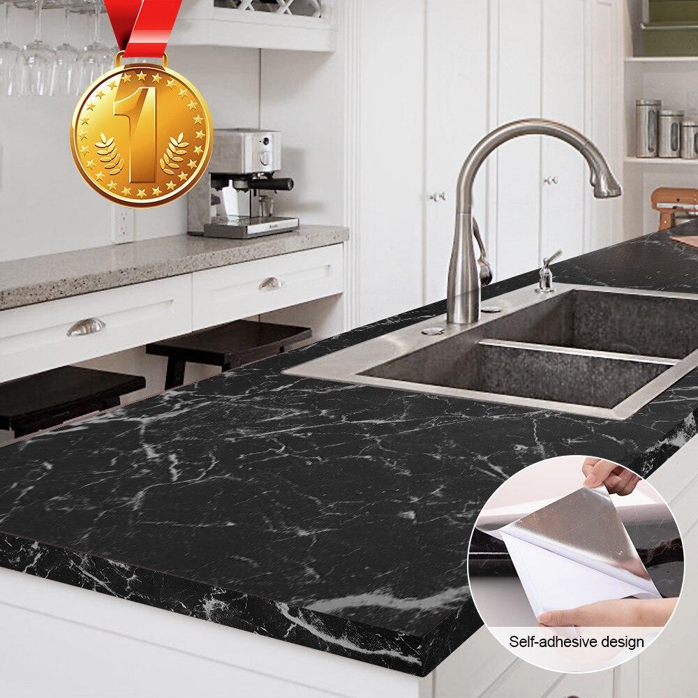 60cm * 1m/3m/5m cozinha à prova de óleo adesivo de parede de mármore padrão impermeável de alta temperatura sala estar decoração para casa