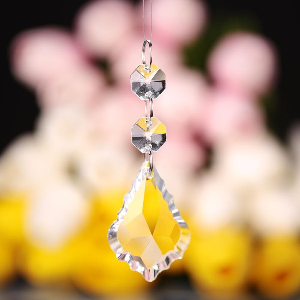 1PC 50mm Glass Prism Drop Crystal Chandelier Hanging Pendant Maple + Octagon Beads Glass Ornament Crystal Prism Hanging Pendants
