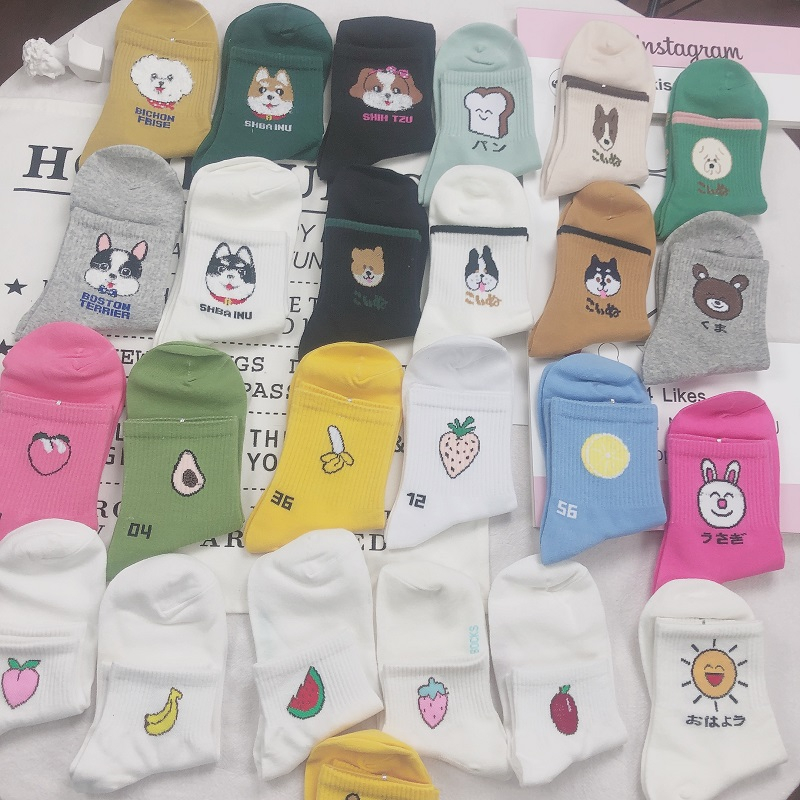 SP&CITY 5 Pairs Set Women Lovely Cartoon Animals Harajuku Socks Cute Fruits Patterned Cotton Female Socks Original Comfortable