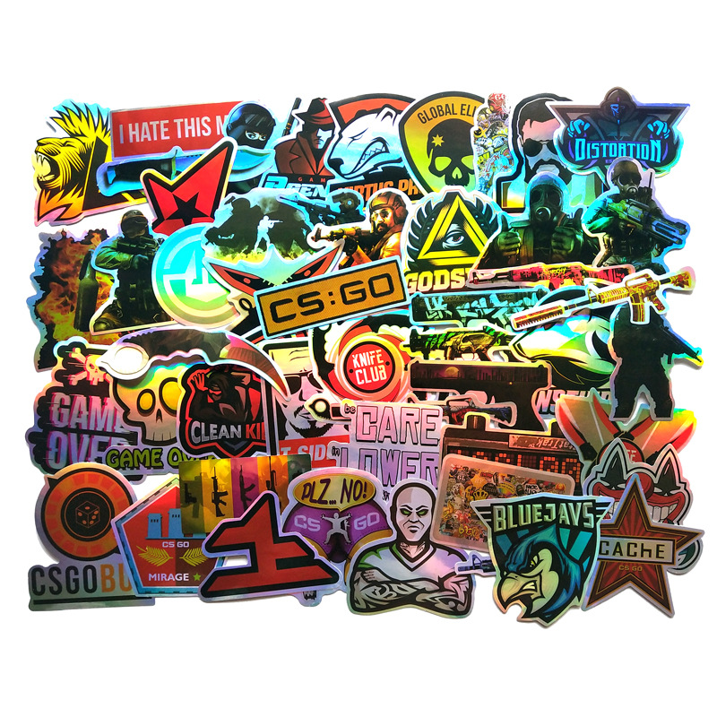 50PCS CS GO Game Cool Laser Stickers For Boys Laptop Funny Graffiti Stickers Mix Retro Waterproof Pegatinas Kids Decal Toys F3