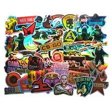 50 pçs cs go jogo legal adesivos a laser para meninos portátil engraçado graffiti adesivos mix retro à prova dwaterproof água pegatinas crianças decalque brinquedos f3