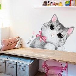 Kawaii naklejka ścienna z kotem do pokoju dziecięcego dekoracja drzwi do sypialni dla dzieci lodówka DIY zwierzęta naklejka dekoracyjna do domu