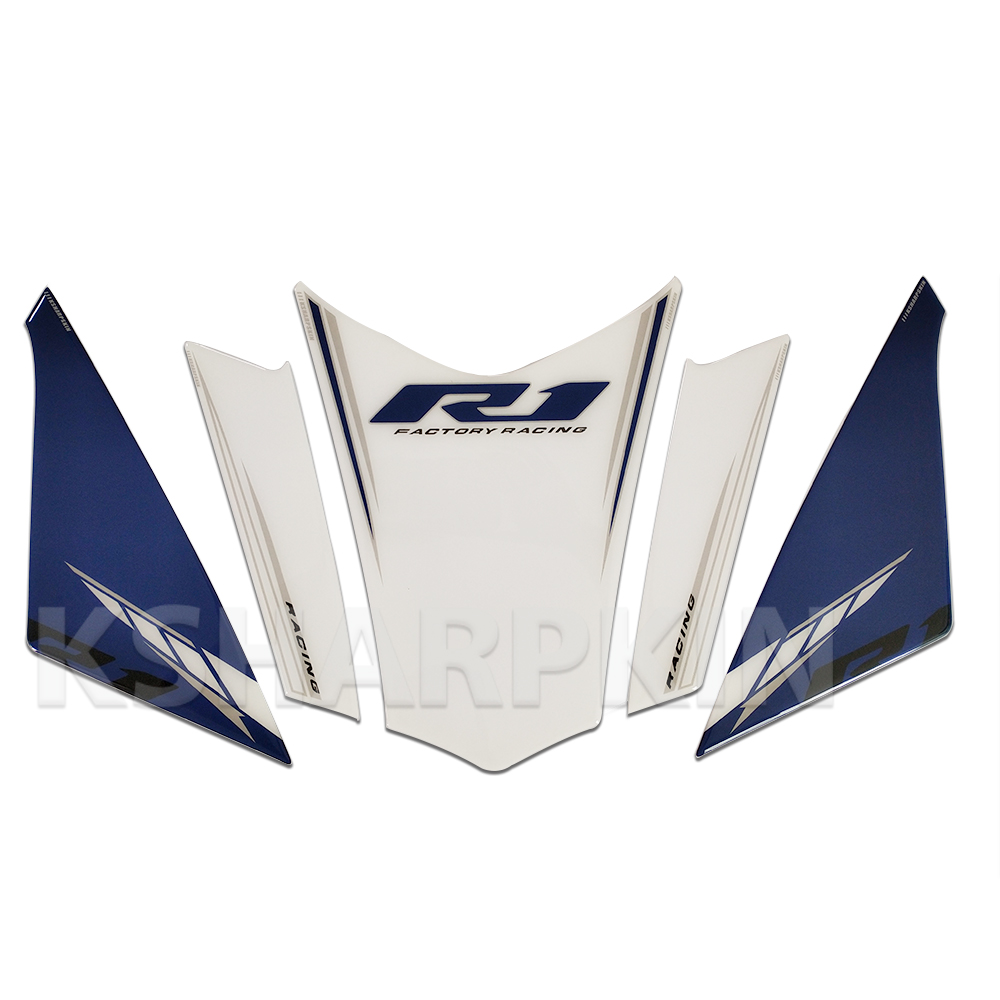 Motorcycle Front Fairing 3D Gel Sticker Protector Number Board Moto Accessories decoration decal for Yamaha <font><b>R1</b></font> 2018 <font><b>2019</b></font> image