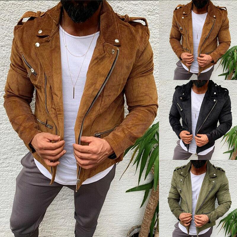 2019 Brand New Fashion Men Winter Warm Overcoat Zipper Coat Coat Outwear Solid Biker Jacket