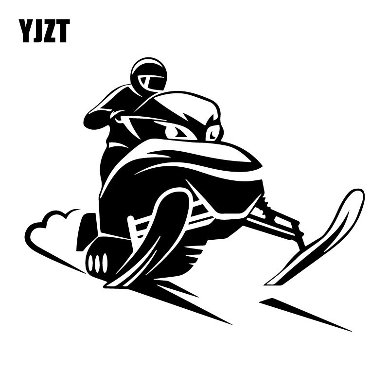 YJZT 17.4CM*13.9CM Snowmobile Rider Vinyl Car Body Stickers Funny Car Styling Window Accessories Black/Silver C31-0520