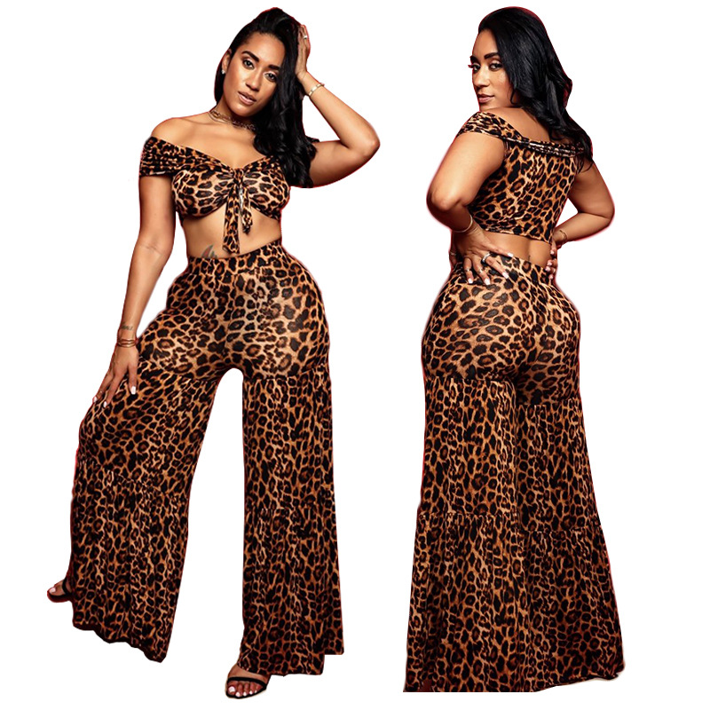 Adogirl Leopard Print Sexy Two Piece Set Slash Neck Lace Up Top +High Waist Flare Long Pants Tracksuit Beach Party Outfits
