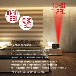 FanJu Погодная станция термометр беспроводной датчик Крытый открытый измеритель влажности цифровой будильник проекционные часы