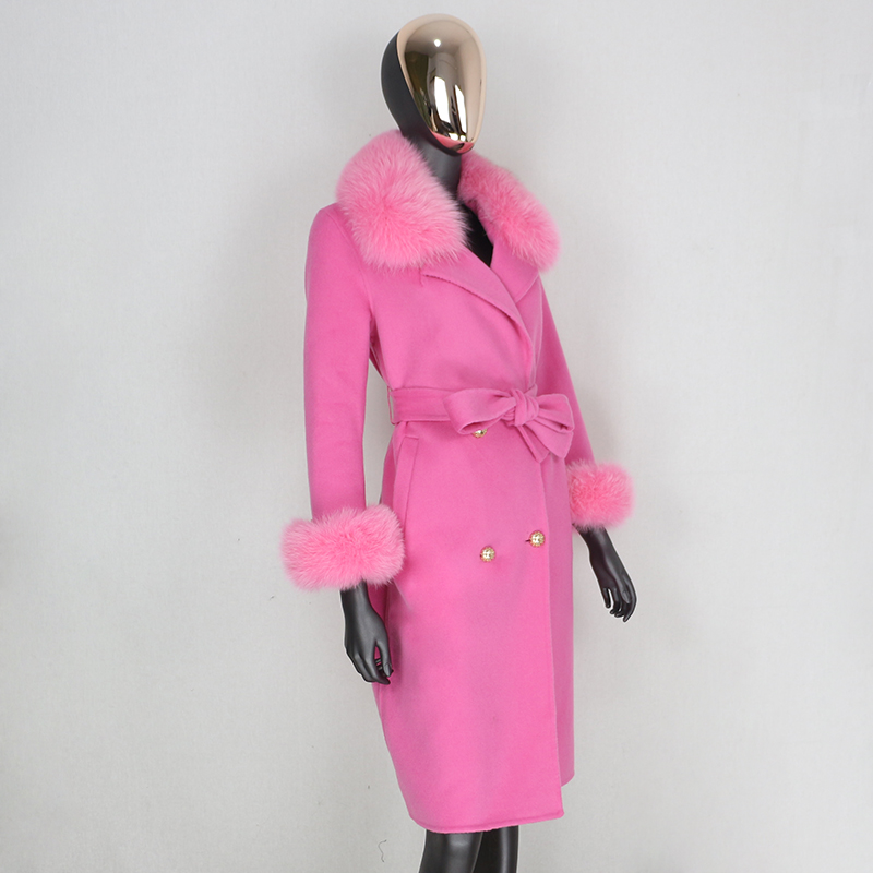Hacc1a19c87a047c2af013e6c8a0743811 2021X-Long Natural Mongolia Sheep Real Fur Coat Autumn Winter Jacket Women Double Breasted Belt Wool Blends Overcoat Streetwea