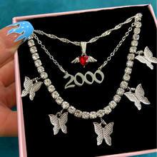 Moda coração borboleta pingente colares para mulher multicamadas 2000 número clavícula de cristal corrente colares jóias presente aniversário