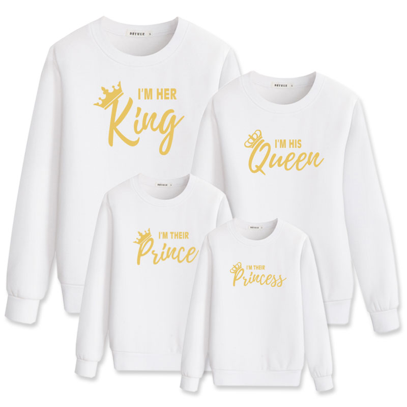 King Queen Princess Prince Family Matching Sweatshirt Mother Daughter Father Son Clothes Mommy And Me Outfits Mom Girl T Shirt