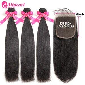 AliPearl Human Hair Bundles With 6x6 Lace Closure Brazilian Straight Hair 3 Bundles With Closure Remy Ali Pearl Hair Extension(China)
