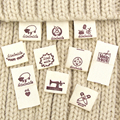 50Pcs Cloth Labels Handmade Label Fold Tags Sheep Heart Pattern Hand Made Label For Knitted Hats Printed Cotton Woven Sew Tags