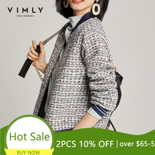 Vimly Short Jacket For Women 2020 Winter Clothes Women Vintage Zipper Patchwork Tweed Jackets Femme Veste 97902