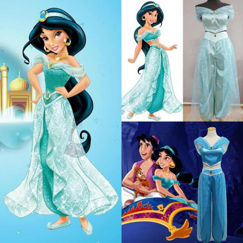 Hot Disney Aladdin Jasmine Princess Cosplay Women Set Girl Garment Fancy Dress Party Costume Ladies Sequined Jacket Pants 2019