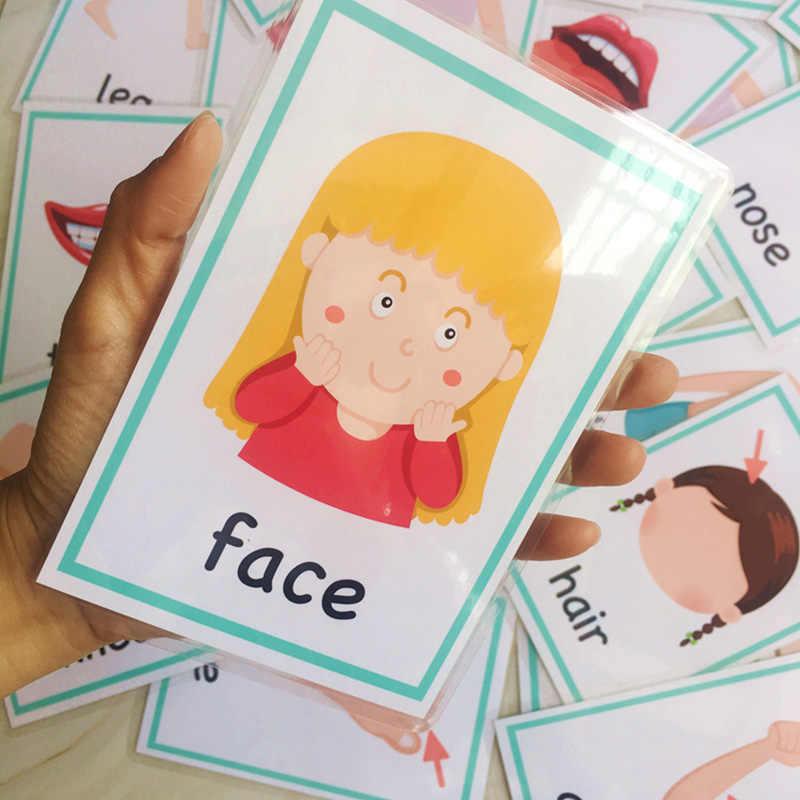 Lote de 30 Uds de cartas de palabras de aprendizaje en inglés Montessori, tarjetas Flash para bebés, juguetes educativos para niños