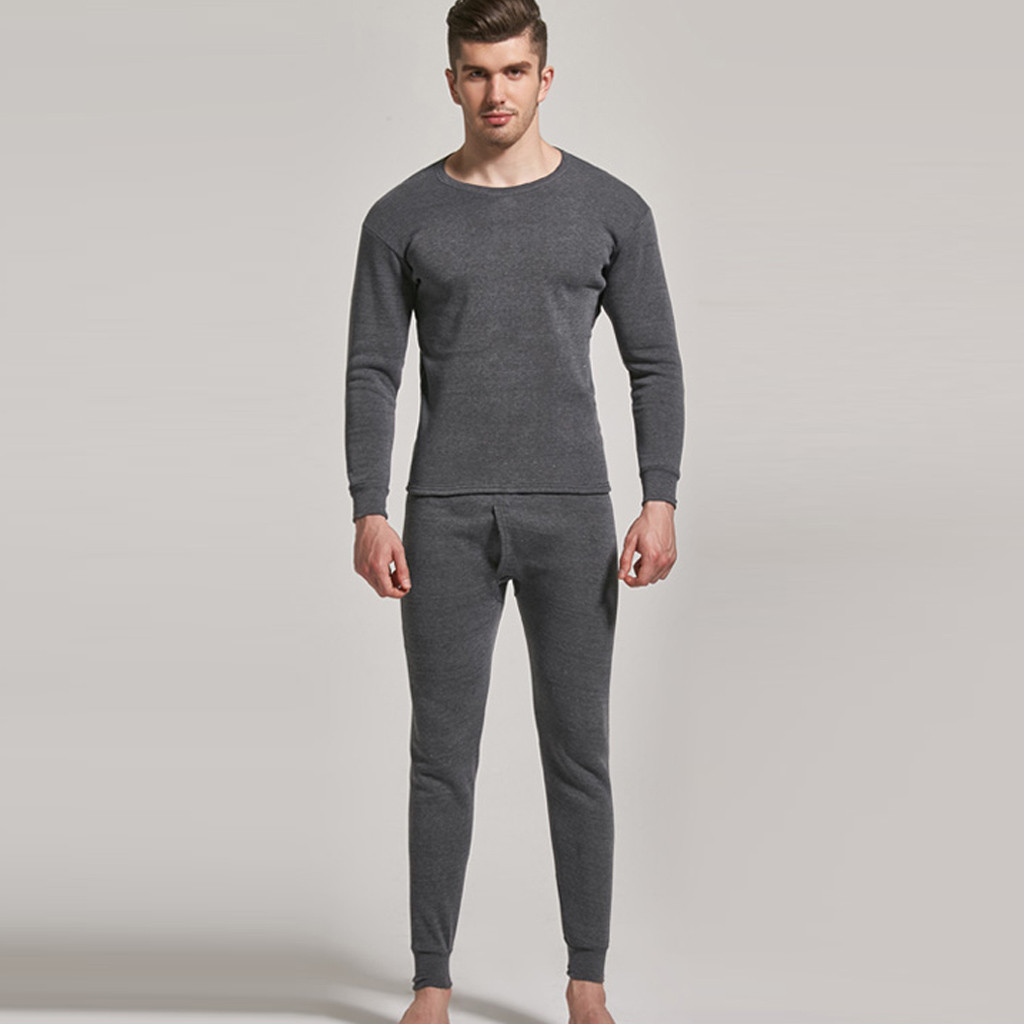 Mens Pijama Underwear-Set Sleepwear Thermal-Pajamas-Set Pants Tight Keep-Warm Solid No title=