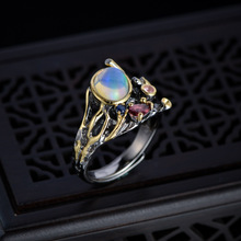 925 Sterling Thai Silver Vintage Opal Open Ring Fine Jewelry For Women Oval Shaped Gemstone Rings Classic Engagement Party Gift