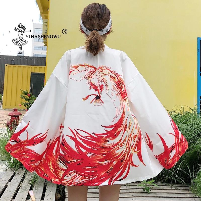 Japanese Kimono Cardigan Yukata Women Dragon Printed Long Sleeve Shirt Casual Kimonos Femme Kawaii Asian Kimono Cosplay Costumes