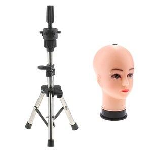 Image 2 - 21 بوصة أصلع الإناث التجميل المعرضة رئيس نموذج مع مجموعة حامل حامل ثلاثي القوائم ل الباروكات صنع عرض التصميم